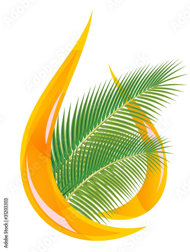 Palm oil. Stylized drop of oil and palm leaves.