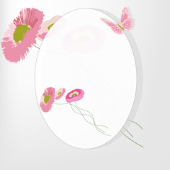 frame with a butterfly and chrysanthemum