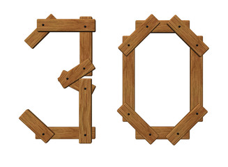 wooden number thirty