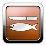 "Bronze Glossy Square Icon ""Fish Cleaning"""