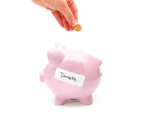 """piggy bank with """"donate"""" label and hand with penny"""