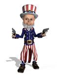 Uncle Sam as a Gunslinger - 3d render poster
