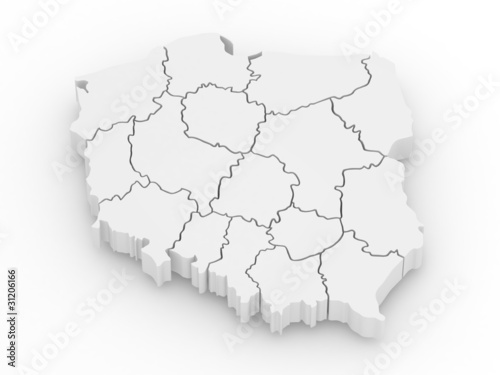 Three-dimensional map of Poland. 3d - 31206166