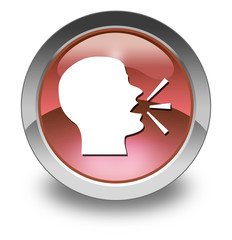 """Red Glossy Pictogram """"Talking Head / Forum / Discussion"""""""