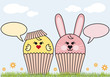 cupcake easter bunny and chicken, vector