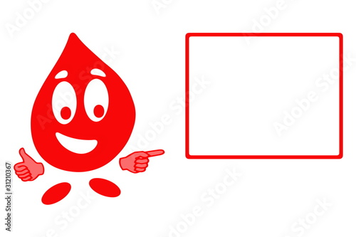 Smiling drops of blood cell in gesturing OK