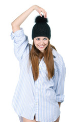 young woman wearing shirt and cap