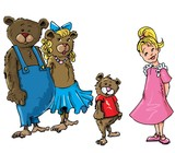 Fototapety Cartoon of Goldilockes and the three bears