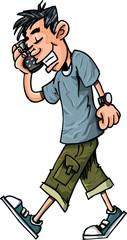 Cartoon of teen boy talking on his mobile phone