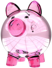 Piggy bank empty translucent glass colored pink. Money donate