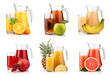 Set of jugs and glasses with tropical fruit juices isolated