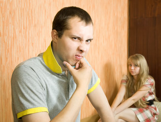 young couple after quarrel
