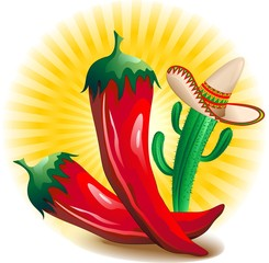 Peperoncino Piccante Messico-Red Hot Chili Pepper Mexico-Vector
