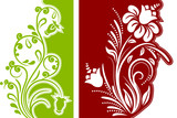 Two different modern beautiful floral design elements poster