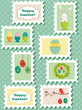 Easter postal stamps set, vector illustration