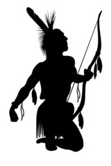 indian warrior with a bow isolate