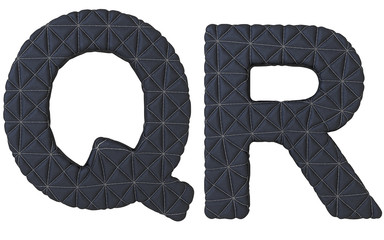 Luxury black stitched leather font Q R letters