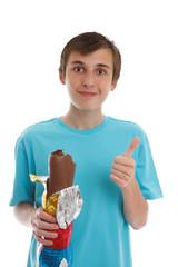 Boy eating chocolate rabbit