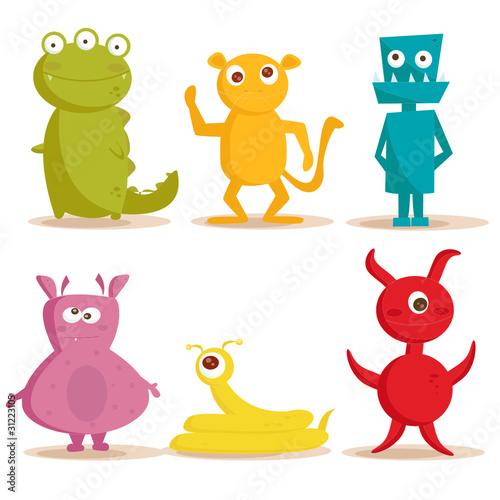 Spoed canvasdoek 2cm dik Schepselen Cute monsters , vector illustration