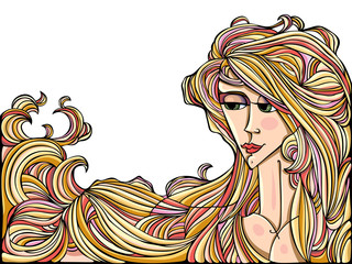 Illustration of young adult girl with long hair.