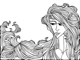 Black contour drawing of young adult girl with long hair.