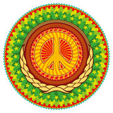 Colorful psychedelic hippie emblem with peace sign. poster