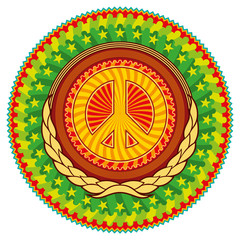 Colorful psychedelic hippie emblem with peace sign.