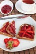 Toast with strawberry jam and tea
