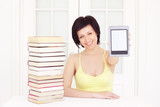 young woman with ebook poster