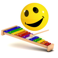 3d Smiley plays some musical notes