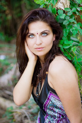 Vibrant portrait of a pretty brunette