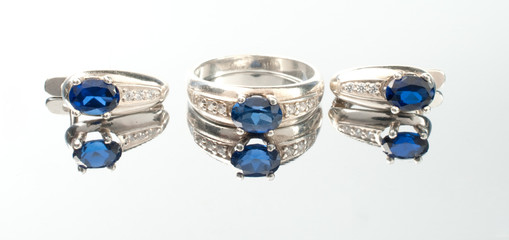 Ring and earrings  with sapphire
