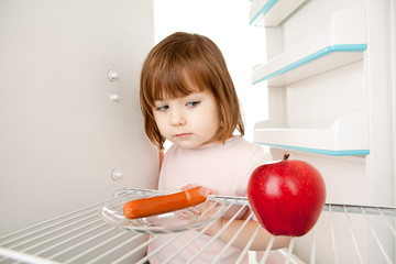 Girl and Empty Refrigerator