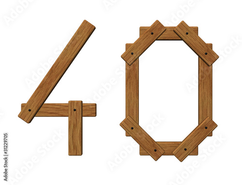 wooden number forty