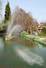 Big fountain in a beautiful garden