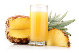 Glass of pineapple juice with fruit and slices isolated