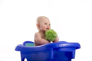 Baby boy in tub