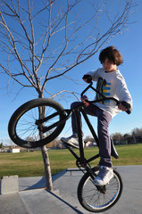 Young Boy Jumping Bike