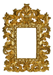 Wooden gold frame with a beautiful carving