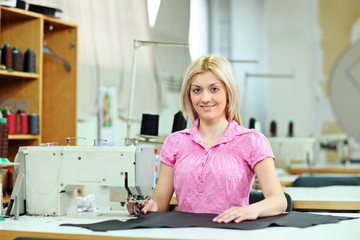 Female worker in a textile factory