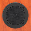 Round black loudspeaker