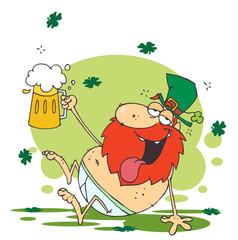 Tipsy Leprechaun In His Underwear, Holding Up A Beer