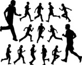people running silhouettes - vector