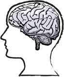 Rough human brain mind grunge sketch poster