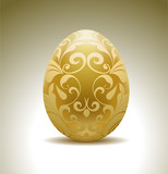 Fototapety Golden egg with floral decoration.