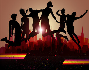 Jumps over city. Party background, vector illustration.