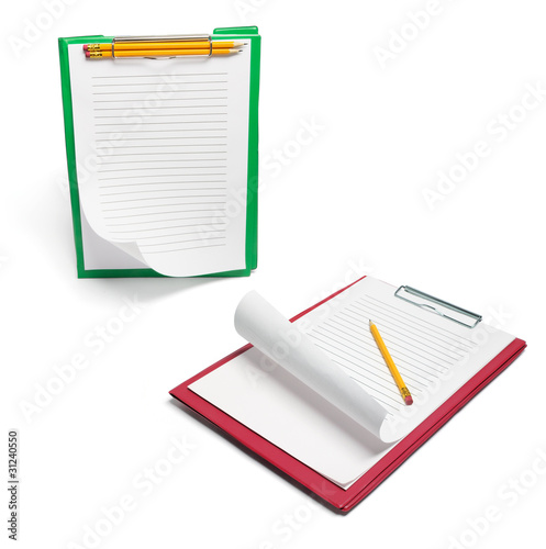 Clipboards with Papers and Pencils