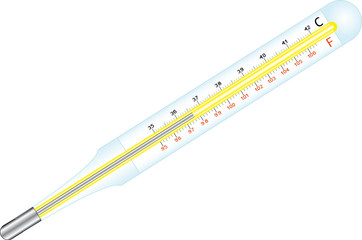 Medical mercury thermometer Celsius, Fahrenheit.