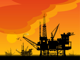 Sea Oil Rig Drilling Platforms, vector illustration