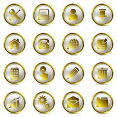 Gold website icons set